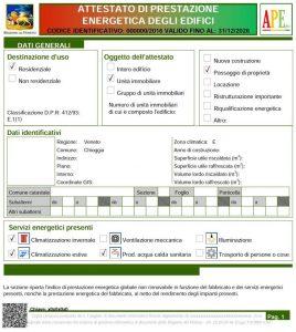 Attestato di Prestazione Energetica a Chioggia